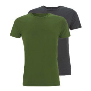 Bamboe T-shirts groen en antraciet