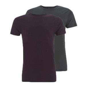 Bamboe T-shirts antraciet en aubergine