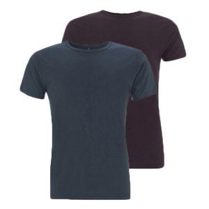 Bamboe T-shirts denim en aubergine