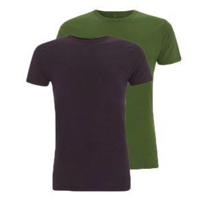 Bamboe T-shirts groen en aubergine