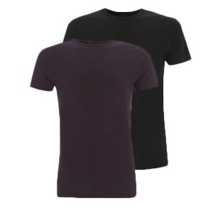 Bamboe T-shirts aubergine en zwart