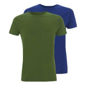 Bamboe T-shirts groen en blauw