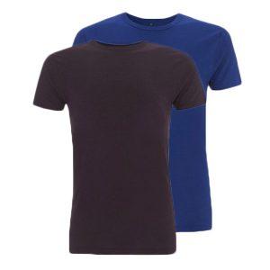 Bamboe T-shirts aubergine en blauw
