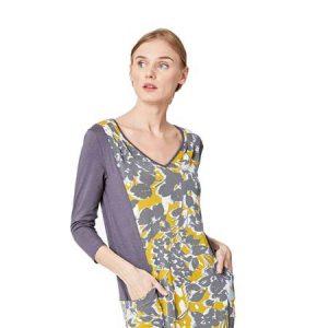 Bamboe jurk Moira grijs geel