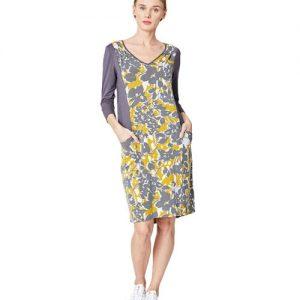 Moira Bamboe jurk grijs geel