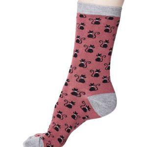 Bamboe sokken zwarte kat op roze