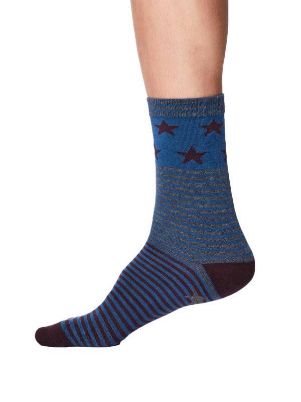 bamboe sokken blauw aubergine sterren