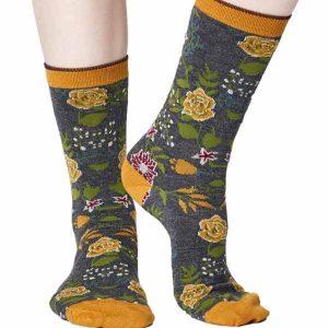 Bamboe sokken bloemen geel