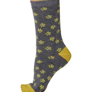 Bamboe sokken flora grijs gemêleerd