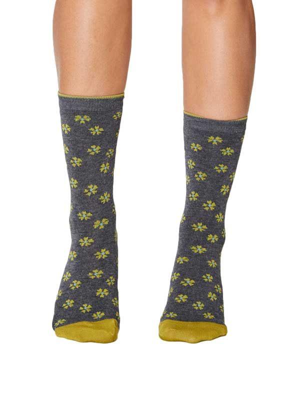 Bamboe sokken grijs gemêleerd flora