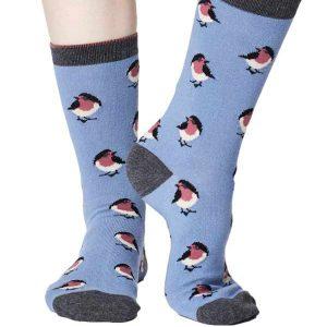 Bamboe sokken roodborstjes licht blauw