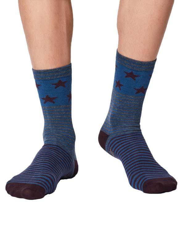 bamboe sokken sterren blauw aubergine
