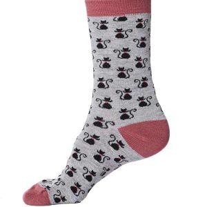 Bamboe sokken zwarte kat op grijs