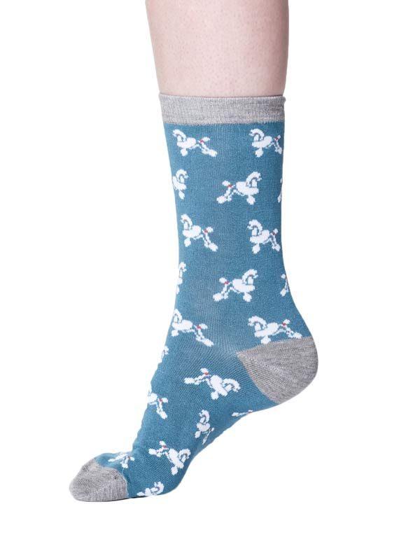 bamboe sokken poedels turquoise