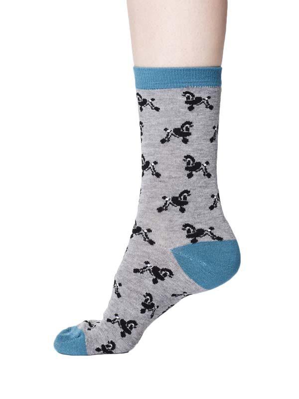 bamboe sokken poedels grijs