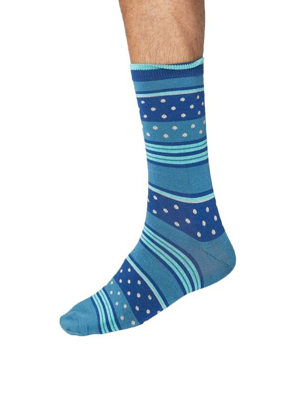 Bamboe sokken met strepen en stippen merk Thought kleur blauw
