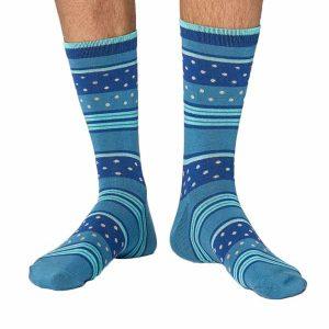 Bamboe sokken met streep en stippen patroon merk Thought blauw