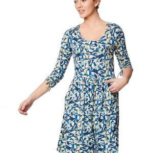 Bamboe jurk met blauwe print Bamboe fashion