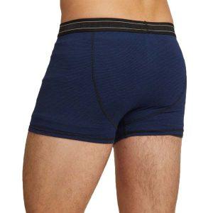 Bamboe boxershort donker blauw zwart gestreept achterkant Bamboe Fashion