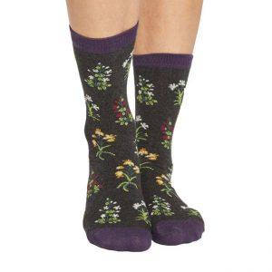 Bamboe sokken flora antraciet Bamboe Fashion