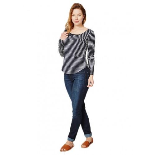 Bamboe top lange mouw blauw gestreept van Thought bij Bamboe Fashion