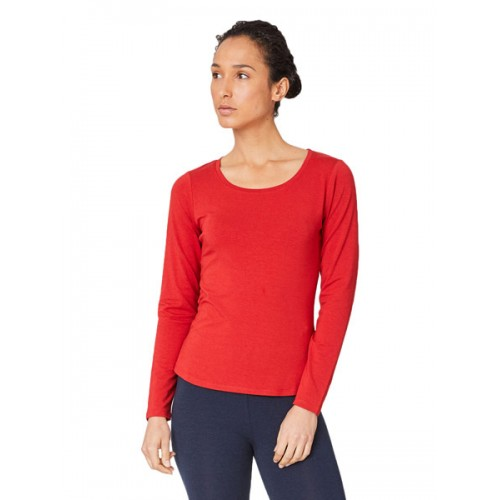 Bamboe top lange mouw rood Bamboe Fashion