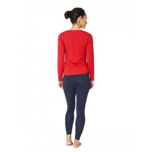Bamboe top lange mouw rood achterkant Bamboe Fashion