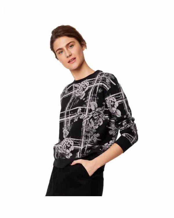 Bamboe sweater bloemen zwart Bamboe Fashion 1