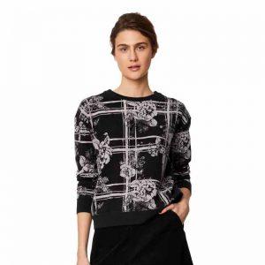 Bamboe sweater bloemen zwart Bamboe Fashion