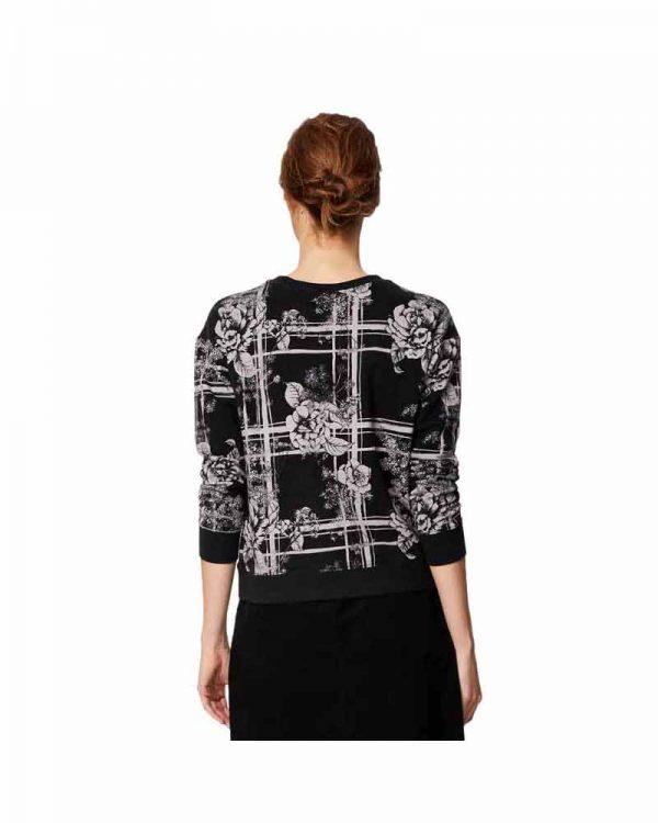 Bamboe sweater bloemen zwart achterkant Bamboe Fashion